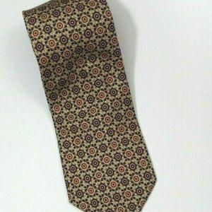 JoS A Bank Mens Silk Tie Gold Floral Geometric